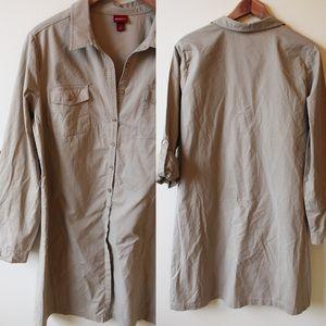 Khaki shirt dress w/ adjustable sleeves